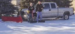 Shoveling snow and snow plowing